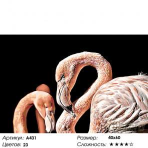 Количество цветов и сложность Пара розовых фламинго Раскраска картина по номерам на холсте A431