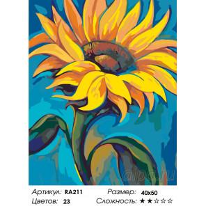 Количество цветов и сложность Подсолнух на солнце Раскраска картина по номерам на холсте RA211