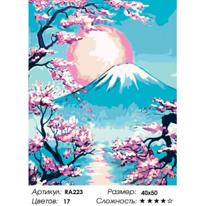 Количество цветов и сложность Закат над горой Фудзи Раскраска картина по номерам на холсте RA223