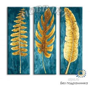 Ботаника Триптих Раскраска по номерам на холсте Hobbart JP39090005-LITE