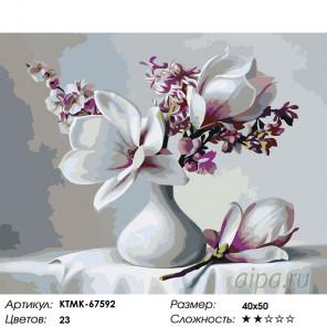 Количество цветов и сложность Магнолии в вазочке Раскраска картина по номерам на холсте KTMK-67592