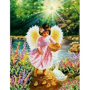 Ангел с утятами Набор для вышивки бисером Каролинка