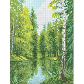Озеро в лесу Канва с рисунком для вышивки Каролинка