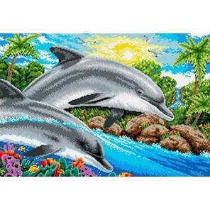 Дельфины Канва с рисунком для вышивки бисером