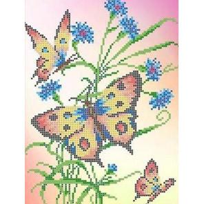 Бабочки и васильки Канва с рисунком для вышивки бисером