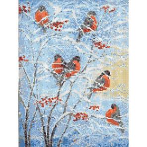Снегири Канва с рисунком для вышивки бисером