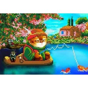Кот на рыбалке Канва с рисунком для вышивки бисером