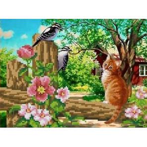 Любопытный кот Канва с рисунком для вышивки бисером