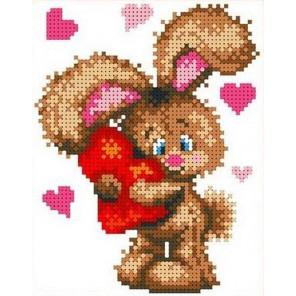Влюбленный зайчонок Канва с рисунком для вышивки бисером