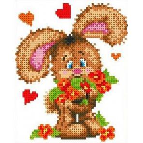 Зайчонок с цветами Канва с рисунком для вышивки бисером