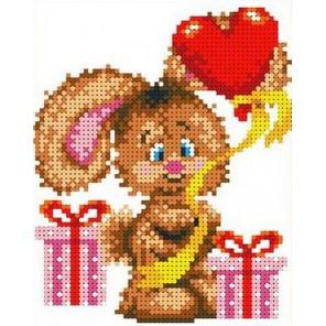 Зайчонок с шариком Канва с рисунком для вышивки бисером