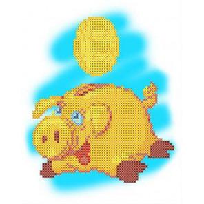 Копилка. Год свиньи Канва с рисунком для вышивки бисером