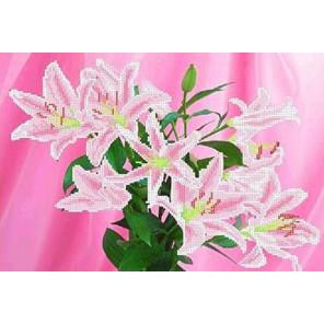Розовые лилии Канва с рисунком для вышивки бисером