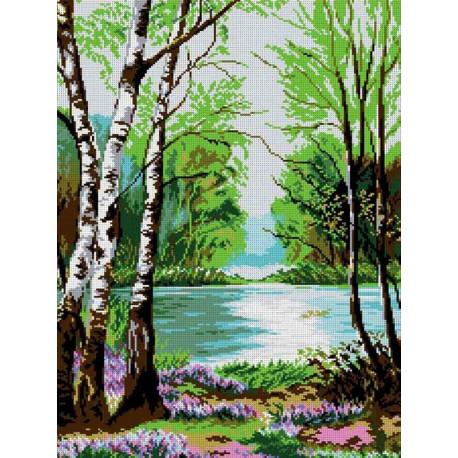 У реки Канва с рисунком для вышивки бисером