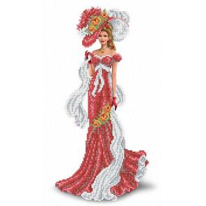 Дама с шарфом Канва с рисунком для вышивки бисером
