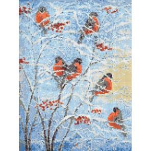 Снегири Канва с рисунком для вышивки Каролинка