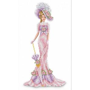 Дама в розовом Набор для вышивки бисером Каролинка