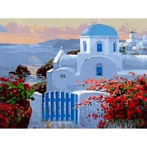 Санторини на закате Раскраска картина по номерам на холсте