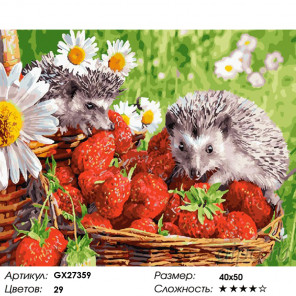 Количество цветов и сложность Ежики и клубника Раскраска картина по номерам на холсте GX27359