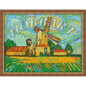 Разноцветная мельница 30х40 Раскраска по номерам акриловыми красками на холсте Hobbart