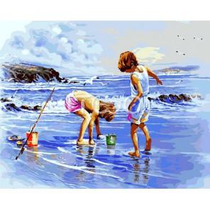 Юные рыбаки Раскраска картина по номерам акриловыми красками на холсте Iteso
