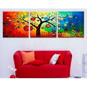 Дерево богатства Триптих Раскраска картина по номерам акриловыми красками на холсте Menglei