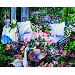 Цветочная терраса Раскраска по номерам акриловыми красками на холсте Iteso Картина по цифрам