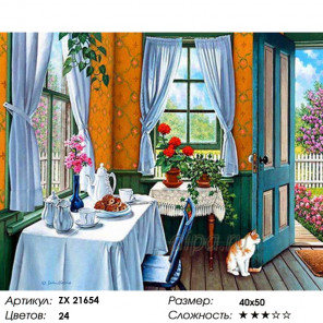 Количество цветов и сложность Завтрак на веранде Раскраска картина по номерам на холсте ZX 21654
