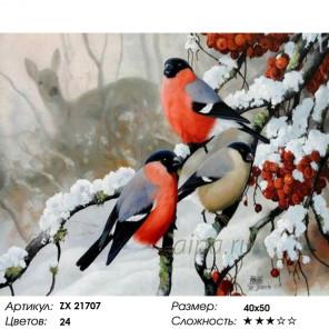 Снегири зимой Раскраска картина по номерам на холсте ZX 21707