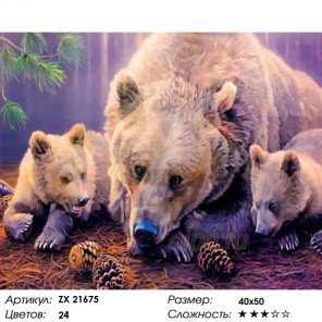 Количество цветов и сложность Три медведя Раскраска картина по номерам на холсте ZX 21675