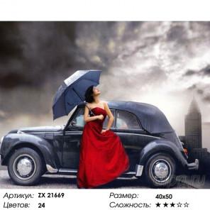 Количество цветов и сложность Девушка и автомобиль Раскраска картина по номерам на холсте ZX 21669
