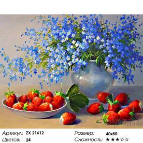 Количество цветов и сложность Незабудки и клубника Раскраска картина по номерам на холсте ZX 21612
