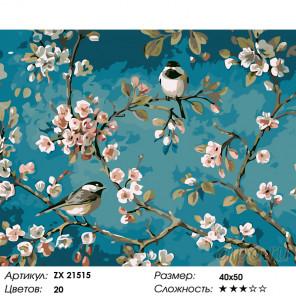 Синички на сакуре Раскраска картина по номерам на холсте ZX 21515
