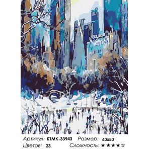 Количество цветов и сложность Зима в городе Раскраска картина по номерам на холсте KTMK-33943