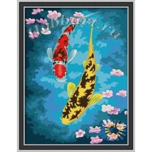 Символ богатства - карпы Раскраска по номерам акриловыми красками на холсте Hobbart Картина по цифрам