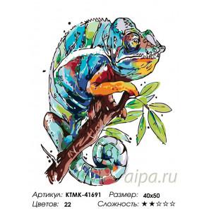 Количество цветов и сложность Радужный хамелион Раскраска картина по номерам на холсте KTMK-41691