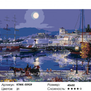 Количество цветов и сложность Лунная ночь Раскраска картина по номерам на холсте KTMK-55929