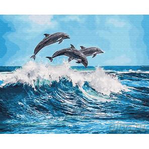Дельфины над волной Раскраска картина по номерам на холсте Z-GX26749
