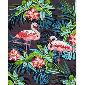 Фламинго в цветах Раскраска картина по номерам на холсте Z-GX26535