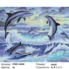 Количество цветов и сложность Игры дельфинов Раскраска по номерам на холсте Живопись по номерам KTMK-36068