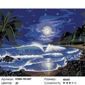 Количество цветов и сложность Лунный пляж Раскраска по номерам на холсте Живопись по номерам KTMK-901607