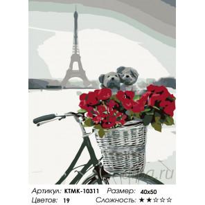 Влюбленные в Париже Раскраска по номерам на холсте Живопись по номерам KTMK-10311