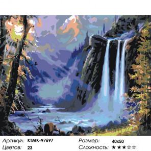 Количество цветов и сложность Пейзаж с водопадом Раскраска по номерам на холсте Живопись по номерам KTMK-97697