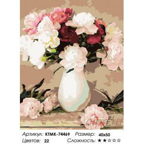Количество цветов и сложность Вазочка с пионами Раскраска по номерам на холсте Живопись по номерам KTMK-74469