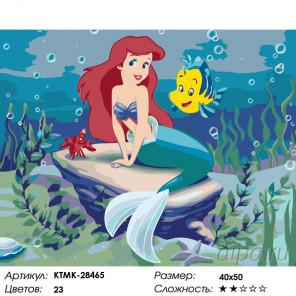 Количество цветов и сложность Русалочка и рыбка Раскраска по номерам на холсте Живопись по номерам KTMK-28465