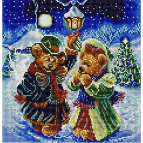 Новогодние мишки Канва с рисунком для вышивки бисером
