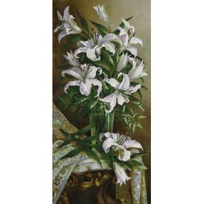 Белые лилии Канва с рисунком для вышивки бисером