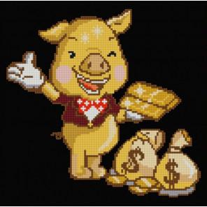 В рамке Золотая свинка Канва с рисунком для вышивки бисером 1240