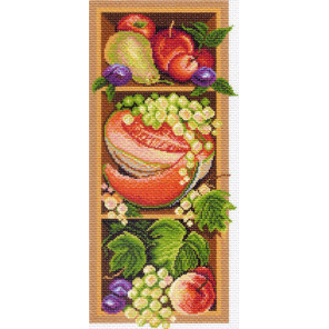 В рамке Полка с дарами осени Канва с рисунком для вышивки Матренин посад 1393