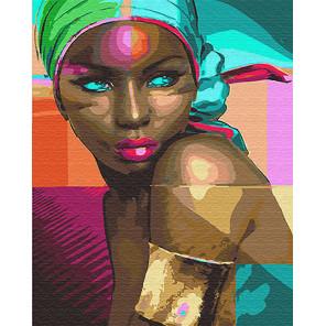 Африканка Раскраска картина по номерам на холсте
